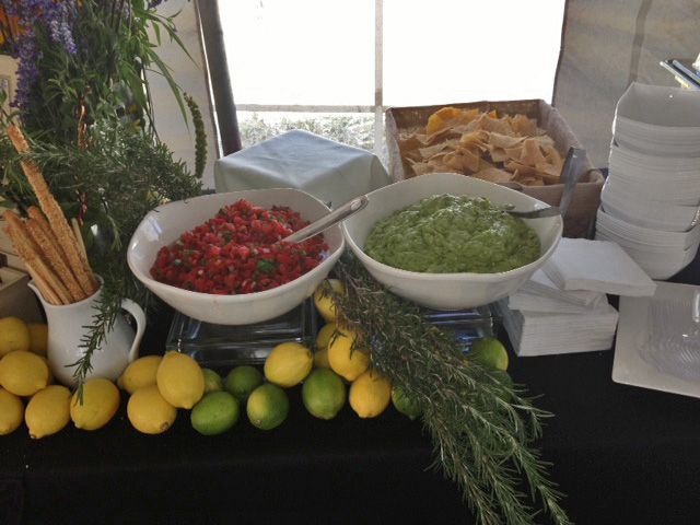 A chip and dip station for a catered event at Andrea Trattoria Italiana.